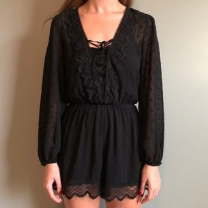 NWT Express Black Delicate Long Sleeved Romper, S